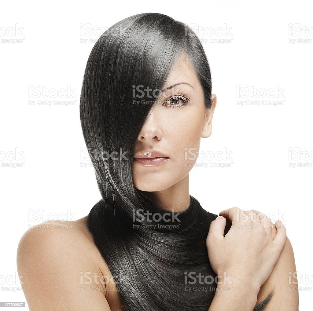 beautiful woman , with long black hair royalty-free stock photo