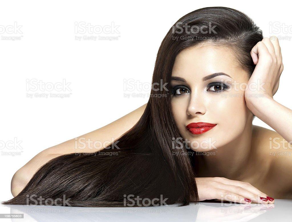 아름다운 가진 여자 걸리죠 브라운 곧음 hairs - 로열티 프리 갈색 눈 스톡 사진