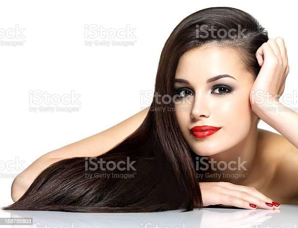 아름다운 가진 여자 걸리죠 브라운 곧음 Hairs 갈색 눈에 대한 스톡 사진 및 기타 이미지
