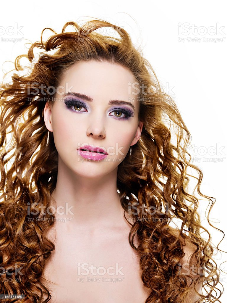 beautiful  woman with  long curly hairs stock photo