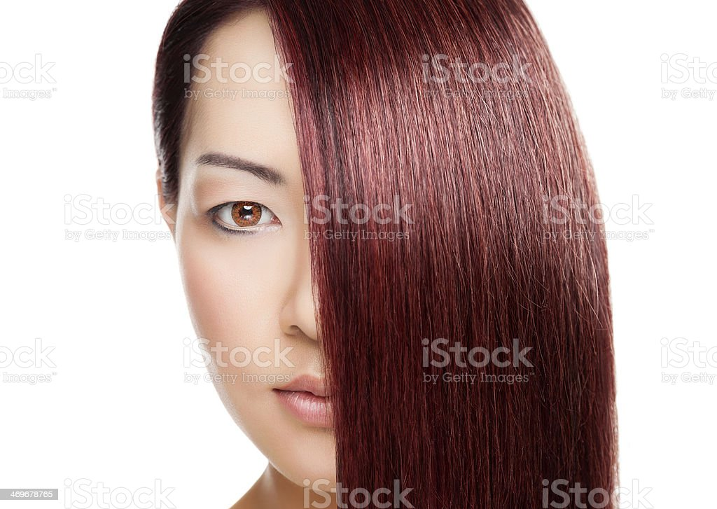Beautiful woman with long elegant straight hair stock photo