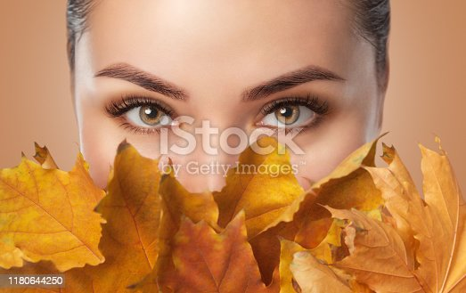 Beautiful woman with long eyelashes and with beautiful smokey eyes makeup holds yellow leaves near the face. Eyes close up. Looking at the camera