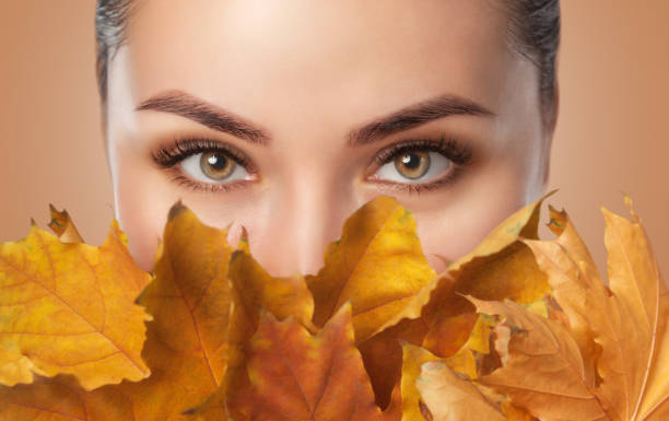 Beautiful woman with long eyelashes and with beautiful smokey eyes makeup holds yellow leaves near the face. Eyes close up. Looking at the camera stock photo