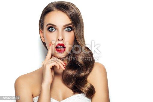 istock Beautiful woman with long hair 889049594