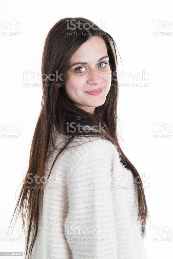 Beautiful woman with long straight hair. Fashion model posing стоковое фото