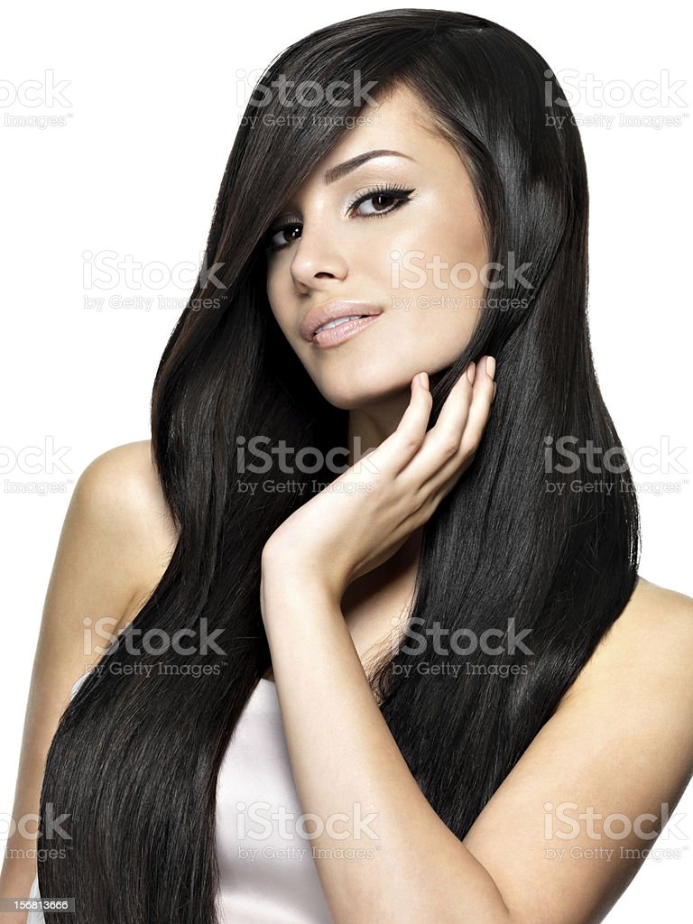 Beautiful woman with long straight hair royalty-free stock photo