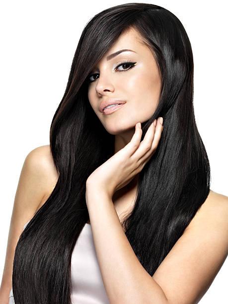 belle femme avec long cheveux raides - cheveux lisses photos et images de collection
