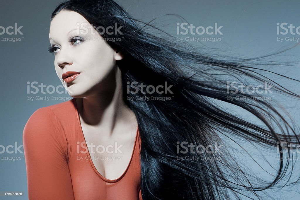 Beautiful woman with long tended hair royalty-free stock photo