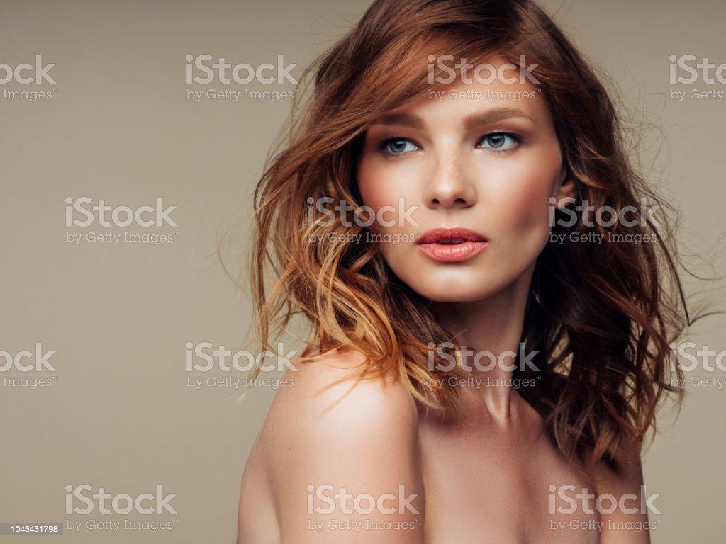 Beautiful woman with luxury hairs stock photo