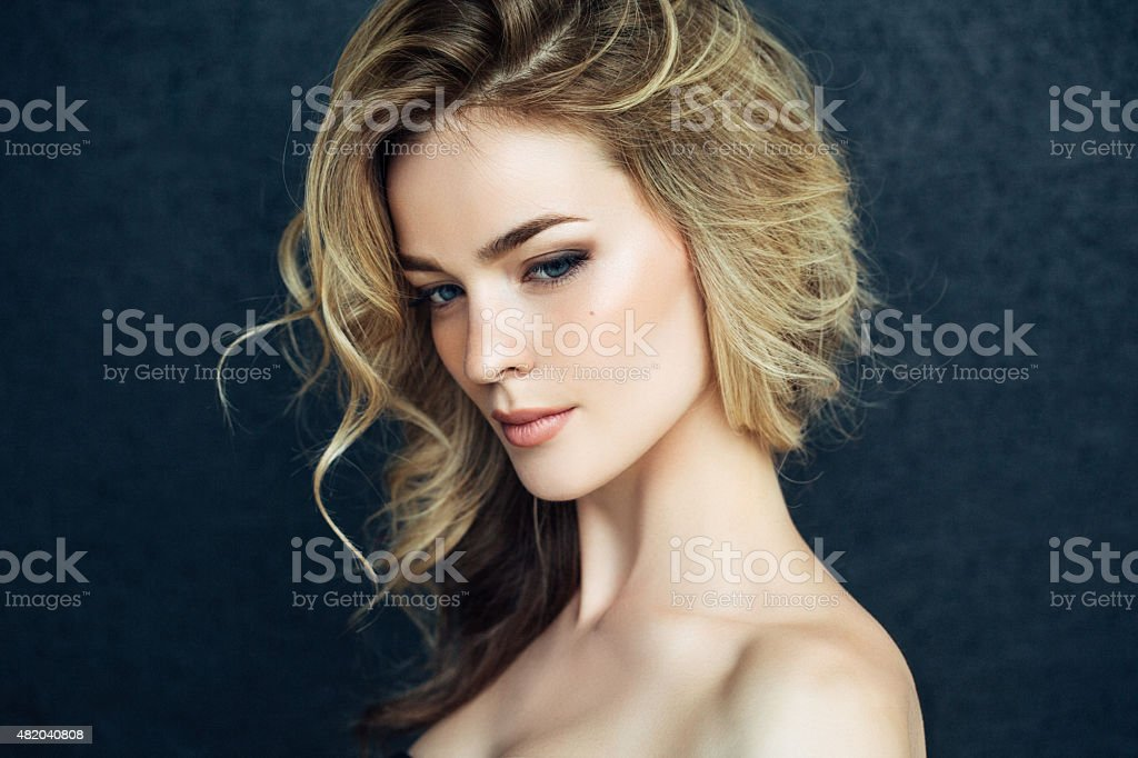 Beautiful woman with make up stock photo