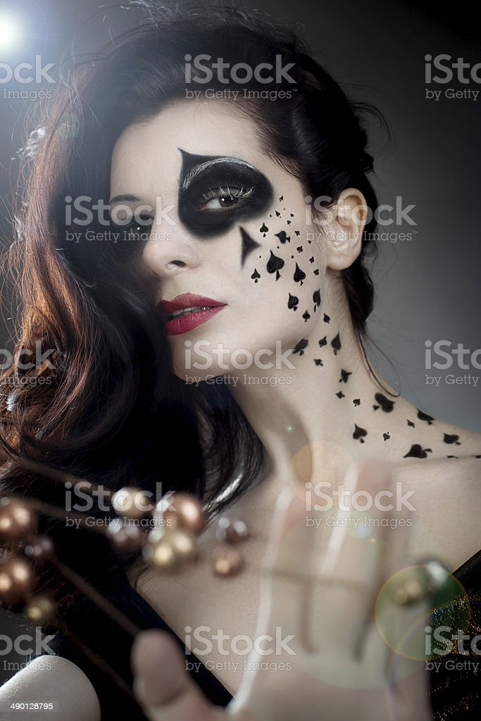 Beautiful Woman With Makeup And Bodyart Styled As Playing Card Stock Photo Download Image Now Istock