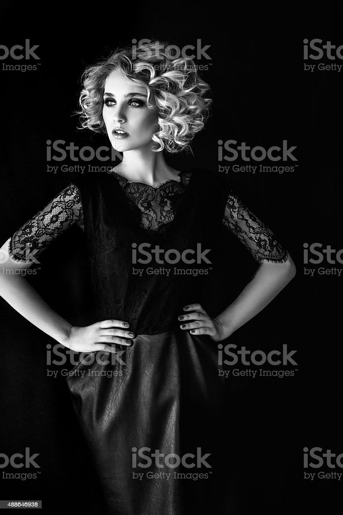 Beautiful woman with makeup and hairstyle stock photo