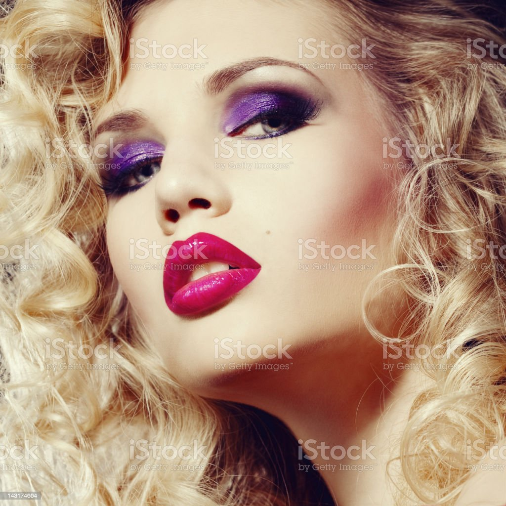 Beautiful woman with makeup stock photo