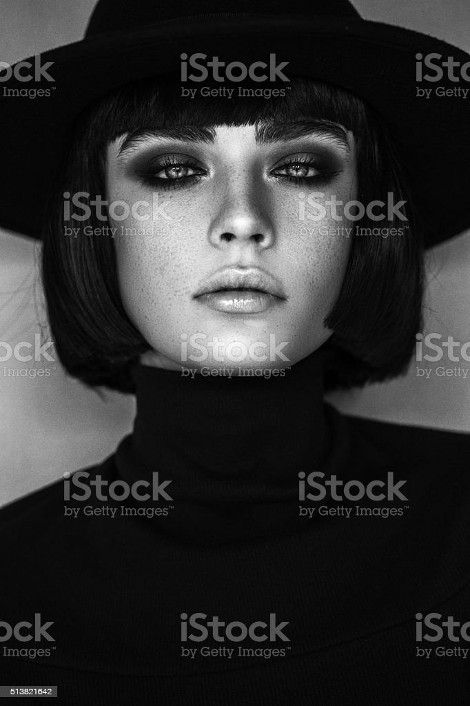 Beautiful woman with make up stock photo black and white portrait of