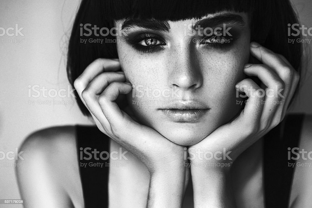Beautiful woman with make up stock photo black and white portrait