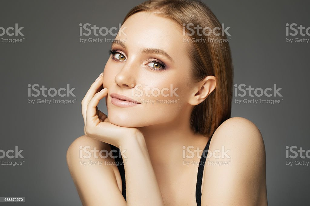 Beautiful woman with make-up stok fotoğrafı