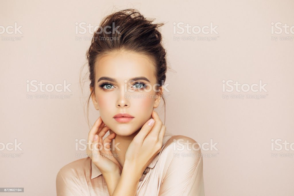 Beautiful woman with make-up стоковое фото