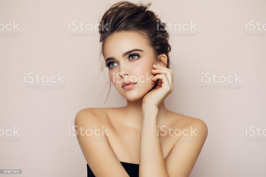 Beautiful woman with make-up stock photo