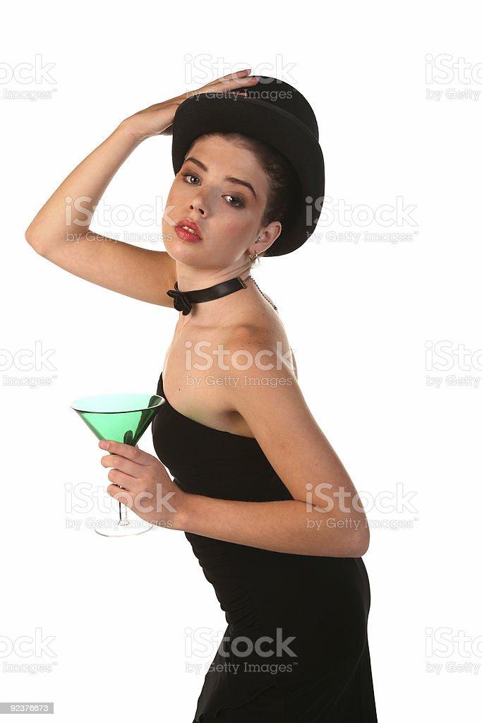 Beautiful Woman with Martini Glass royalty-free stock photo