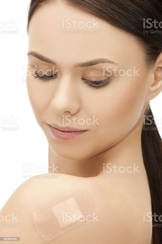 beautiful woman with medical patch or plaster stock photo