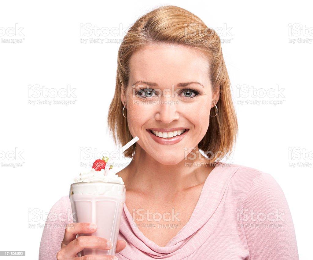 Beautiful Woman with Milkshake royalty-free stock photo