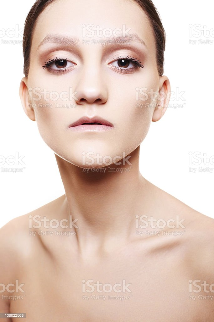 Beautiful woman with natural beige make-up stock photo