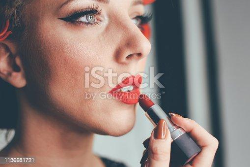 897056188 istock photo Beautiful woman with natural make-up 1136681721