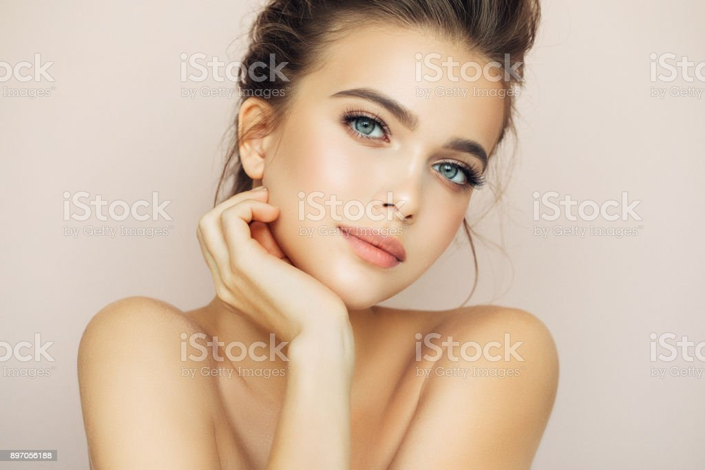 Beautiful woman with natural make-up stock photo
