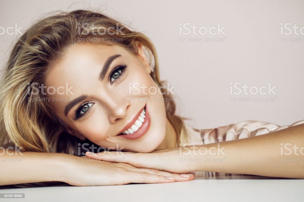 Beautiful woman with natural make-up stock photo