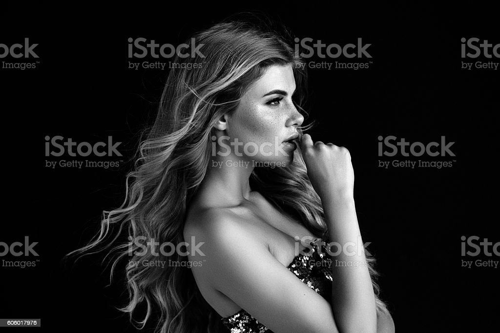 Beautiful woman with perfect hairstyle stock photo