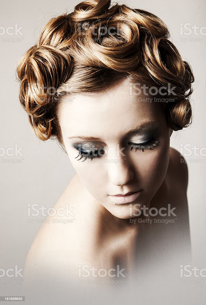 Beautiful Woman with Pin Curl Hairstyle stock photo