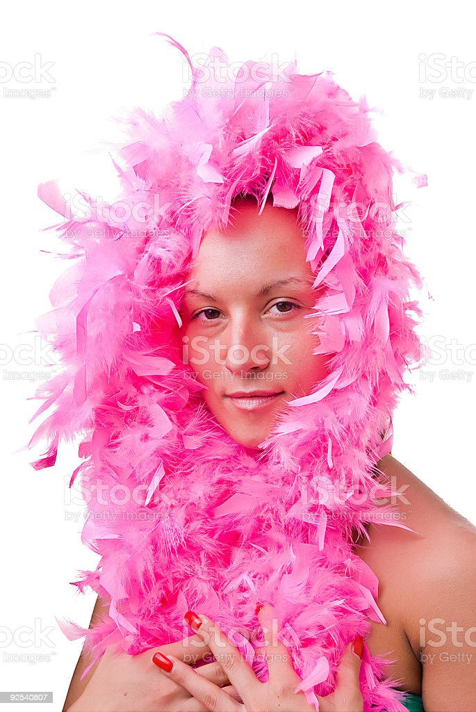 Beautiful woman with pink feather boa royalty-free stock photo