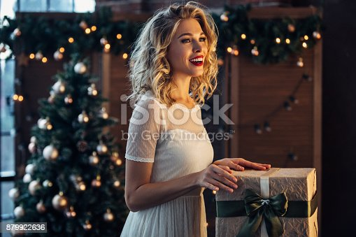istock Beautiful woman with present 879922636