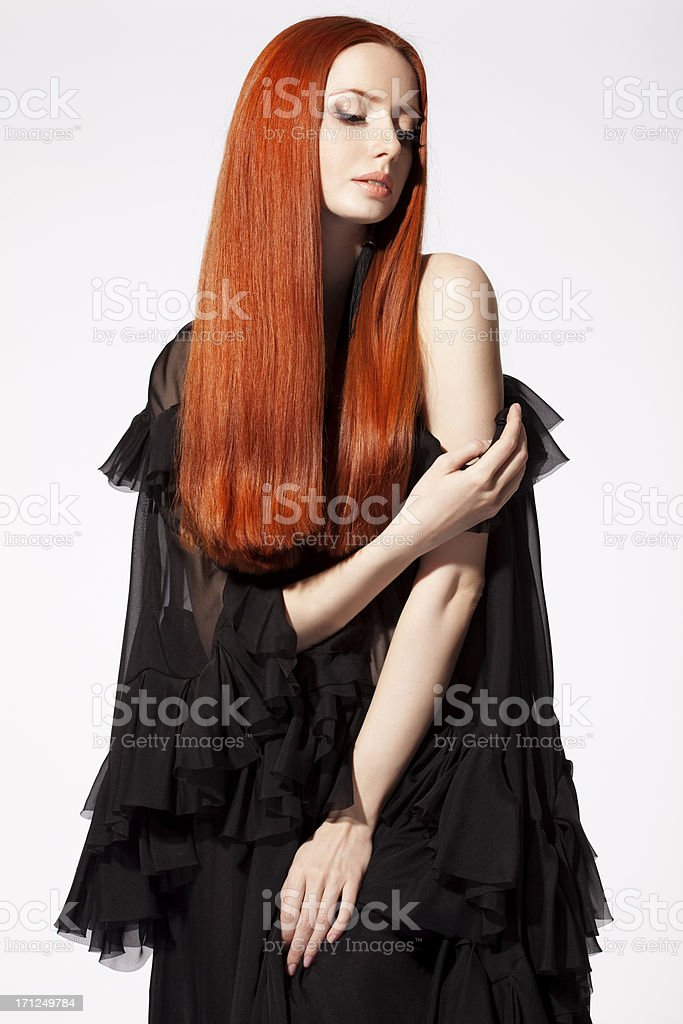 Beautiful woman with red hair royalty-free stock photo