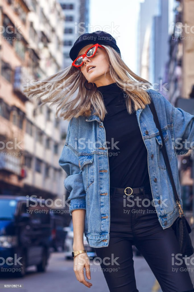 Beautiful woman with red sunglasses royalty-free stock photo