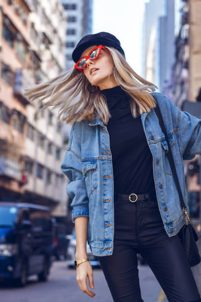 Beautiful woman with red sunglasses stock photo