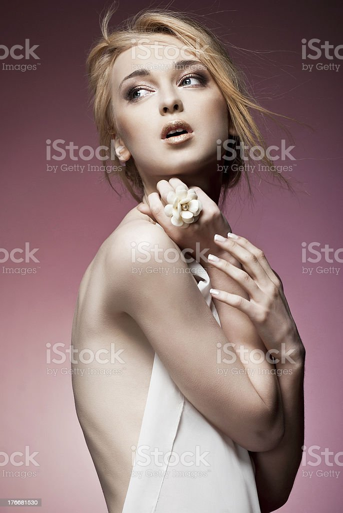 Beautiful woman with ring royalty-free stock photo