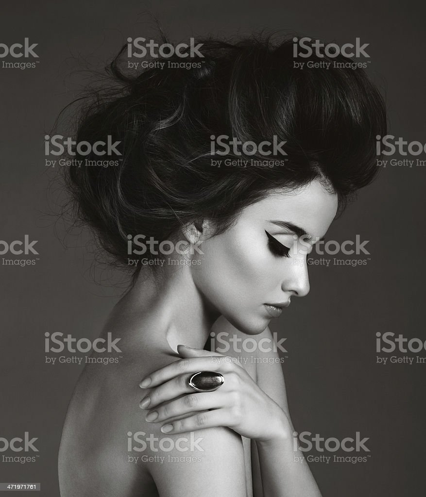 Beautiful woman with ring stock photo