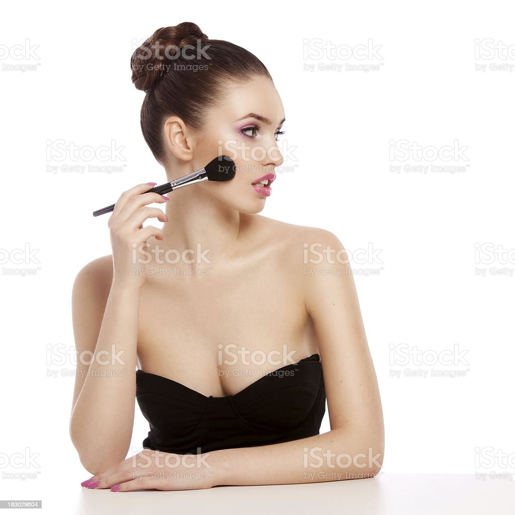 Beautiful woman with rouge royalty-free stock photo