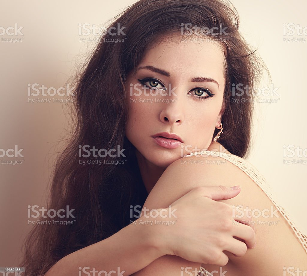 Beautiful Woman With Sad Look Vintage Closeup Portrait Royalty Free Stock Photo