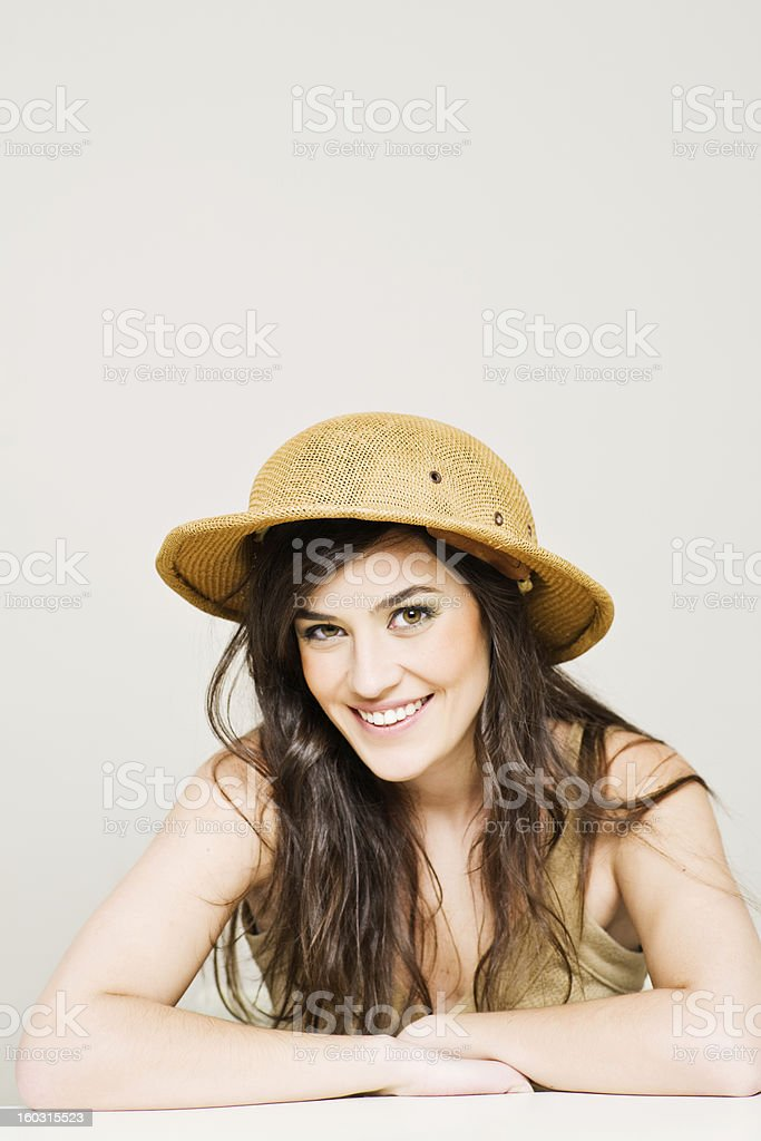 Beautiful woman with salacot hat _ vertical stock photo