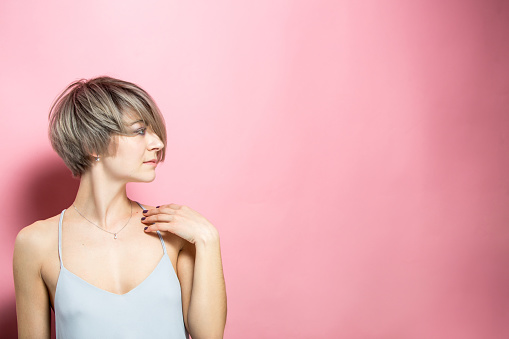 Beautiful Woman With Short Hair And Summer Dress Stock Photo - Download Image Now