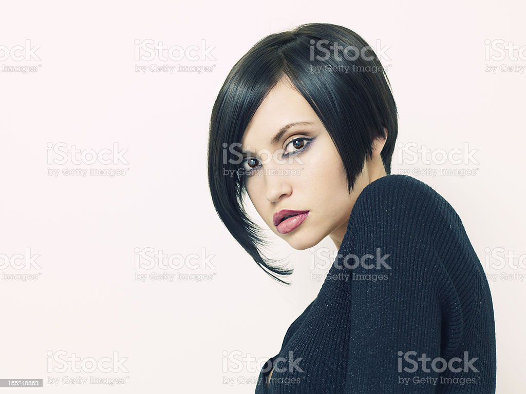 Beautiful woman with short hairstyle royalty-free stock photo