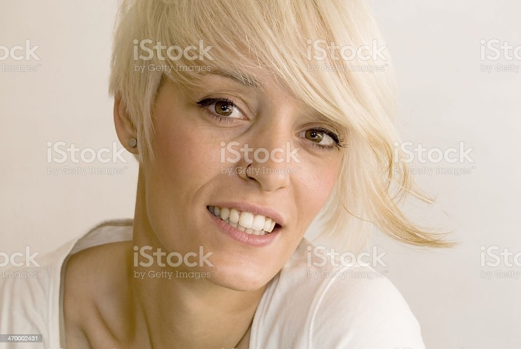 Beautiful woman with short white hair stock photo