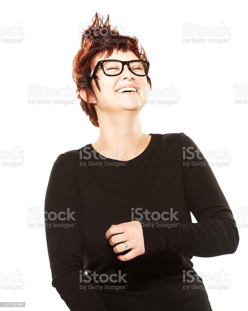 Beautiful woman with spiked hair laughing against white royalty-free stock photo