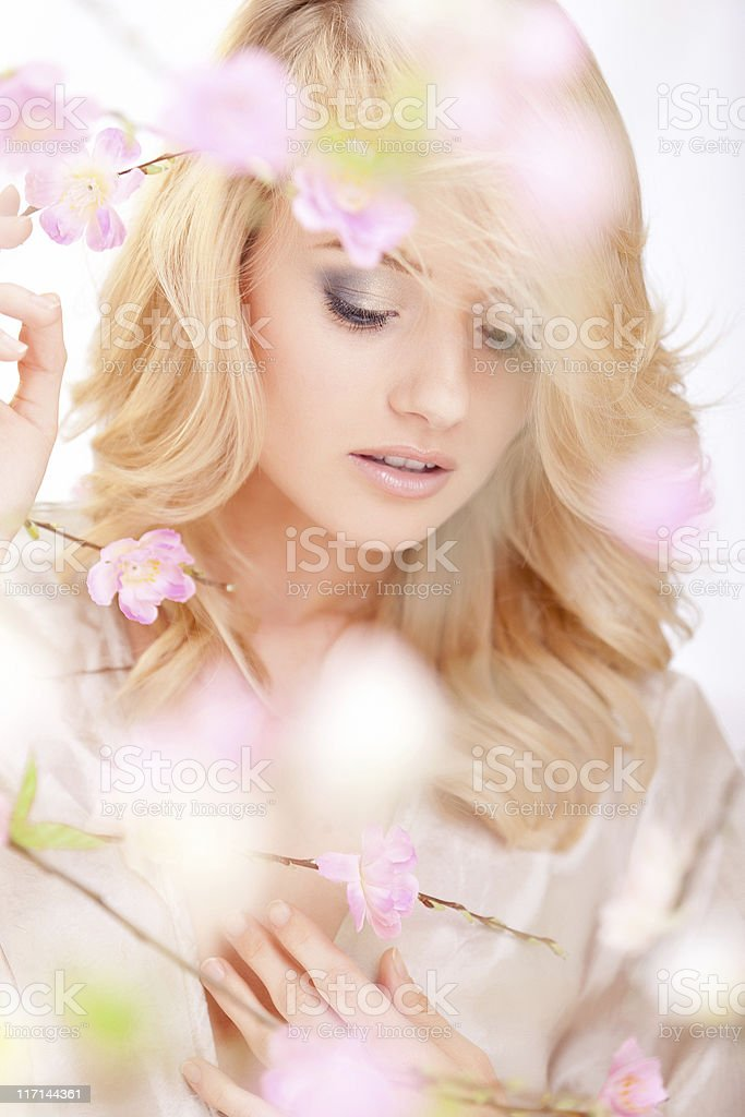 beautiful woman with spring flowers royalty-free stock photo