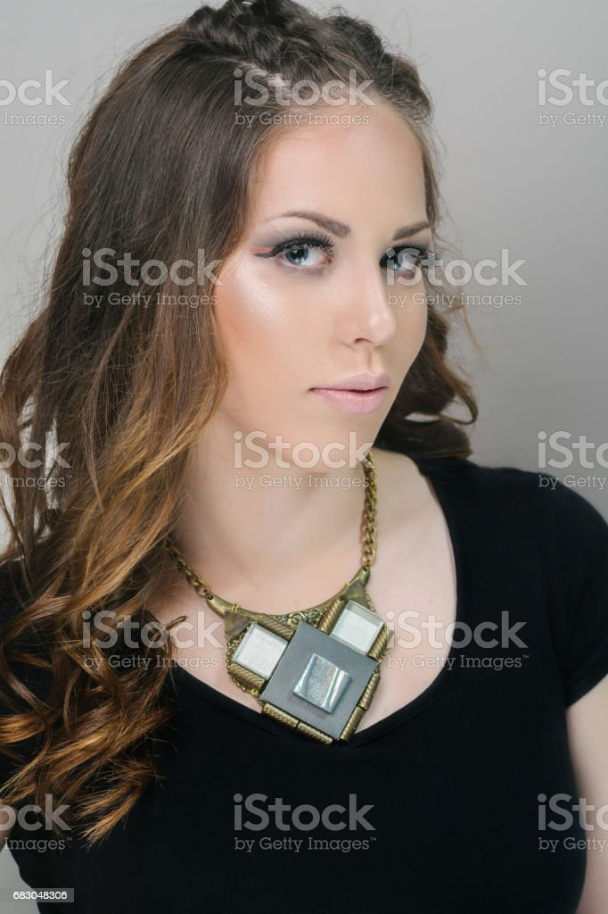 Beautiful woman with stage make up foto de stock royalty-free