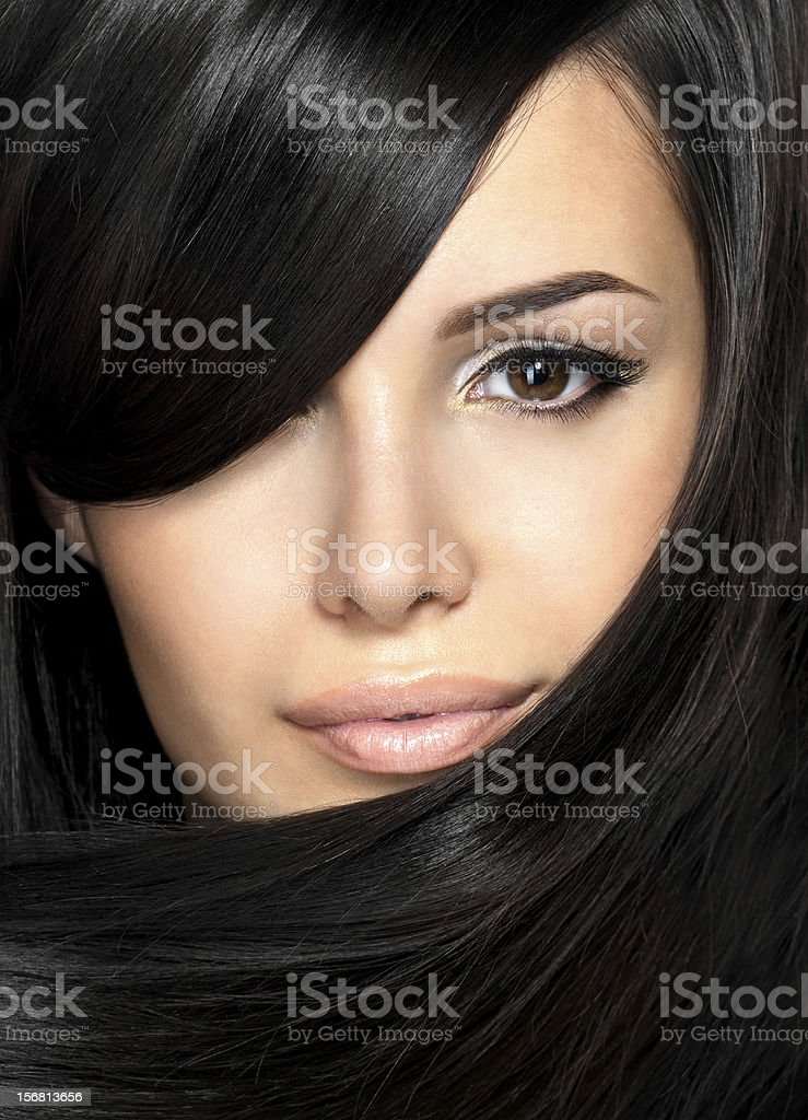 Beautiful woman with straight hair royalty-free stock photo
