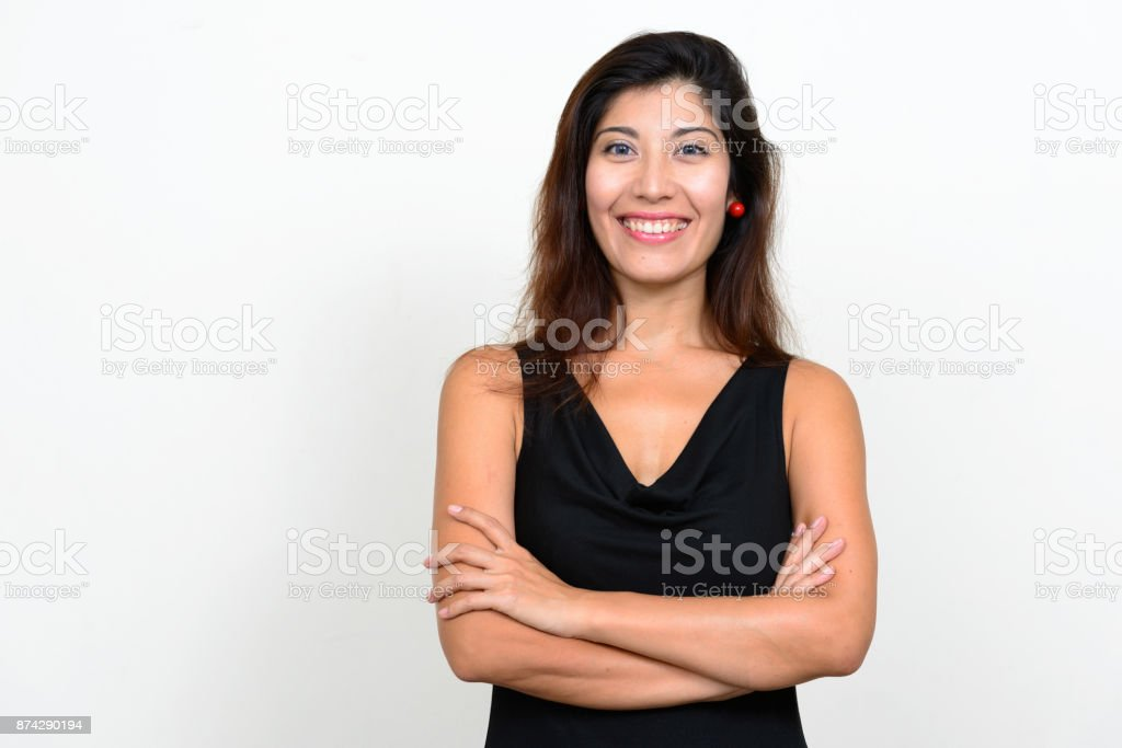 Beautiful woman with straight long hair against white background stock photo