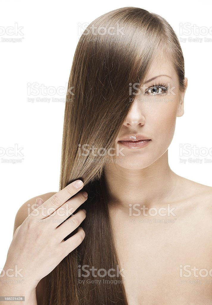 beautiful woman with straight long  hair stock photo